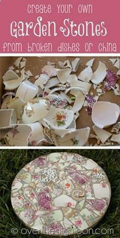Make beautiful garden stepping stones from broken pieces of china. Wouldnt this be a wonderful gift for Mothers Day using pieces of moms or grandmas favorite china pattern? You could even use these under potted plants.