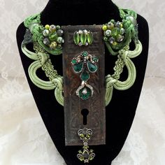 Glamor Steampunk Statement Necklace, Green, rhinestones, Antique key hole, Neo Victorian, Avant Garde Bridal or Prom neck piece, OOAK