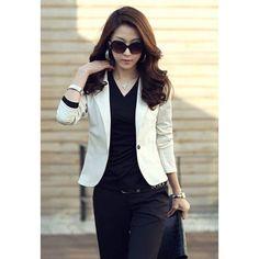 Slimming OL Style Single Button Lapel Solid Color Long Sleeve Women's Cotton Blazer, WHITE, M in Blazers | DressLily.com
