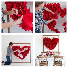 DIY CRAFTS & MORE What you need: wood poles, chicken wire, red paper napkins, nail gun Valentines Day Decorations, Valentine Day Crafts, Birthday Decorations, Wedding Decorations, Red Paper, Chicken Wire, Pinterest Diy, Valentine's Day Diy, Paper Flowers