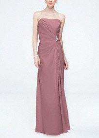 Timeless, elegant and chic, your bridal party will look stunning in this dress!  Strapless crepe bodice with ultra-feminine sweetheart neckline.  Features side pleating at the waist with a dazzling brooch for a touch of glam.  Long soft floor length skirt withfront slit finishes off the look.  Fully lined. Back zip. Imported polyester. Dry clean only.  Available in select stores. To protect your dress, try our Non Woven Garment Bag.