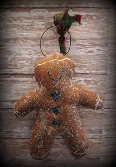Primitive Style Gingerbread Man Christmas Ornament by ThatSallie, $5.00