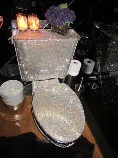 Luxurious bath with Swarovski crystal toilet! Don't forget bathroom breaks and nose powdering! Bling Bathroom, Glitter Bathroom, Swarovski Crystals, Diy Home Decor, Bedroom Decor, House Design, Cool Stuff, Bathrooms, Bling Bling
