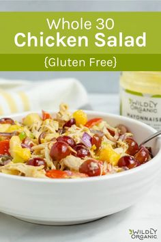 This Whole30™ Chicken Salad is a delicious light meal for hot summer days, barbecue dinners with friends and family, and special occasions. It is also dairy-free, gluten-free, soy-free, and made with organic fresh ingredients. Dairy Free Soup, Dairy Free Recipes, Real Food Recipes, Yummy Food, Healthy Recipes, Whole30 Chicken Salad, Chicken Salad Recipes, Brunch Recipes, Dinner Recipes
