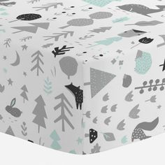 Crib Fitted Sheet in and Icy Mint and Silver Gray Baby Woodland by Carousel Designs.