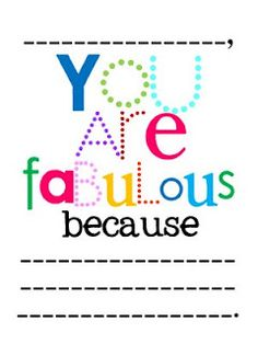 You are fabulous printable notes