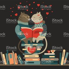 Cats in love reading a book royalty-free stock vector art