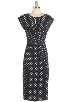 Once and For All Dress in Black. It's time to declare your adoration for all things retro-fabulous with this soft-black, polka dot wiggle dress by Stop Staring! #black #modcloth