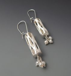 Willow  Lacy Sterling Silver and Pearl Dangle by JewelrybyFrancine