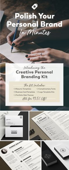 Polish your personal brand and land that new job with this collection of resume templates, fonts, portfolio themes, logo designs and more!
