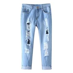 Distressed Cropped Jeans ($99) ❤ liked on Polyvore featuring jeans, pants, destruction jeans, torn jeans, blue jeans, distressed jeans and ripped jeans