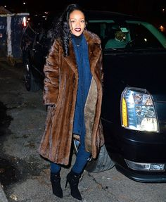 Rihanna Celebrates Thirteenth Number 1 Hit Song with 'Monster'!: Photo Rihanna wears a big fur coat as she heads out in the Soho neighborhood of New York City on Wednesday evening (December The entertainer received… Brown Fur Coat, Sable Fur Coat, Long Fur Coat, Fur Coats, Denim On Denim, Denim Coat, Fur Fashion, Daily Fashion, Rihanna News