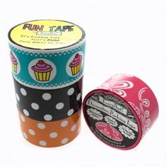 4 Large Rolls Fun Packing Tape - Polka Dots, Vintage, Cupcakes