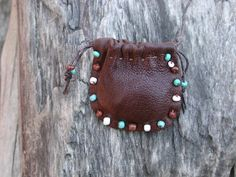 Leather Drawstring Neck Pouch Bag  Sage by Shirlbcreationstoo, $24.00