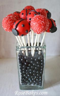 Lady bug cake pops-red & black jelly beans in the jar