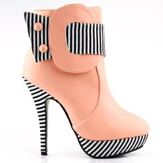 Show Story Baby Pink Striped Button Zipper High Heel Stiletto Platform Ankle Boots,LF30303BP35,4US,Baby Pink Show Story Sale:$29.99 - $34.99