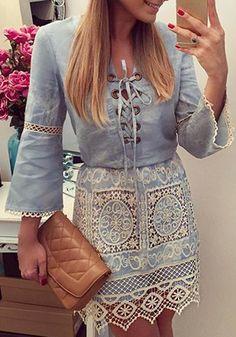 Elegante Cut Out Lace emenda Lace Up-Vestido Denim Para Mulheres