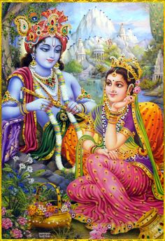 """ Krishna asked ""You of course!"" Radha replied with a smirk. ""Am I that interesting?"" ""You know you are Krishna!"" she said and nudged him playfully. Krishna smiled at her."