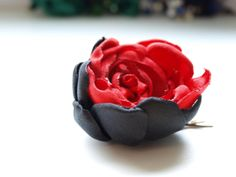 red and black fabric flower bridal hair clips by uniquemaking, $10.00