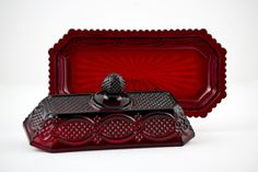 Avon Cape Cod Ruby Red Covered Butter Dish - want 1