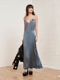 Pajama chic. This is a floor length slip dress with a v neck.
