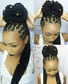 Women enjoy wearing box braids because these braids not only allow them to extend the length of their hair, but they can also wear different hairstyles with box braids. Although these styles look v… Cornrows Updo, African Braids Hairstyles, Girl Hairstyles, Braided Hairstyles, Hairstyle Braid, Curly Hair Styles, Natural Hair Styles, Twisted Hair, Trending Haircuts