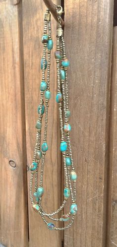 Multi strand necklace turquoise necklace boho by RusticaJewelry
