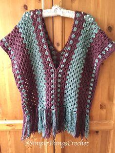 Simple Crochet Poncho pattern Easy crochet poncho top Granny | Etsy