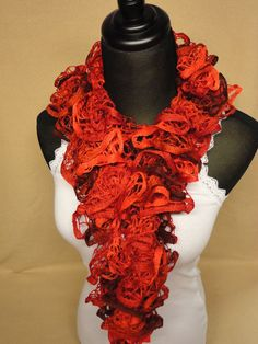 Cinnamon Color Ruffle Scarf - Crocheted Ruffle Scarf - Ruffle Scarves - Dark Red Ruffle Scarf by HappyNanaba, $9.00 USD