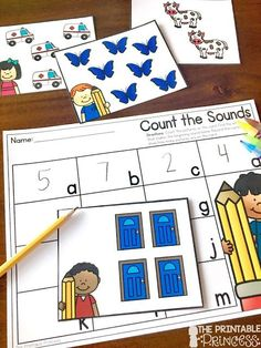 Beginning Sounds Activities, Games, and Centers for Kindergarten Letter Sound Activities, Kindergarten Math Activities, Counting Activities, Alphabet Activities, Kindergarten Reading, Kindergarten Classroom, Classroom Ideas, Teaching Numbers, Teaching The Alphabet