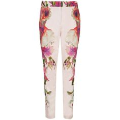 Pre-owned Ted Baker Ericea Orchid Print Trouser Pants ($175) ❤ liked on Polyvore featuring pants, none, slim-fit trousers, patterned pants, slim fit pants, cropped trousers and straight pants