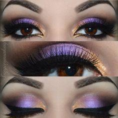 Purple and gold smokey #makeup #eyeshadow