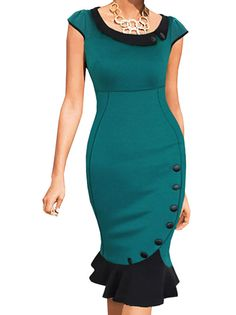 Fantastic Stylish O-Neck Shaping Buttons Decorated Patch Work Trumpet Dress on fashionsure.com