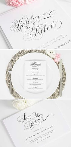 Southern Script Wedding Invitation Suite | Save the Date, Menu, Wedding Invitation, Table Numbers