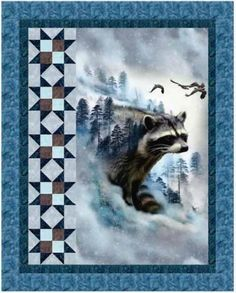 Square up a narrow panel. Use this pattern with baby panels! - - Call Of The Wild - Raccoon Ravine Free Quilt PatternQuilt pattern features raccoon panel from the Call of the Wild digital-print collection by Hoffman Fabrics. Kit includes pattern and fabri Fabric Panel Quilts, Lap Quilts, Small Quilts, Fabric Panels, Mini Quilts, Cotton Quilts, Quilt Block Patterns, Quilt Blocks, Patch Quilt