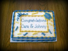 "Blue & Gold Graduation - Simple 9x13"" graduation cake for a brother and sister. Decorated in buttercream with fondant confetti, cap and ribbons."