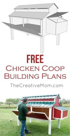 Free Chicken Coop Plans from @creativemomblog. This is the CUTEST and most FUNCTIONAL chicken coop. The free building plans show step by step instructions for how to build the entire chicken coop, and they include the full set of plans to download for FREE!!!