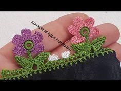 Crochet Flower Tutorial, Crochet Flowers, Crochet Lace, Phulkari Embroidery, Hand Embroidery, Crochet Geek, Crochet Borders, Crochet Scarves, Knitting Socks