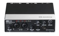 Steinberg UR22 USB Audio Interface: With two XLR microphone preamps, MIDI I/O, zero-latency monitoring, and a Hi-Z input for guitar, this 192 kHz/24-bit USB interface has everything you need.