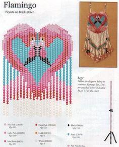 flamingo pattern. beaded. amulet  bag fringe