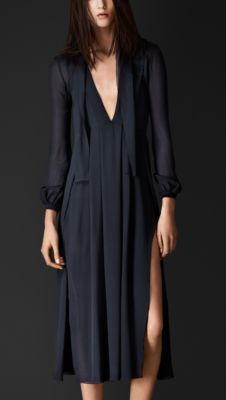 Burberry Layered Silk V-Neck Dress