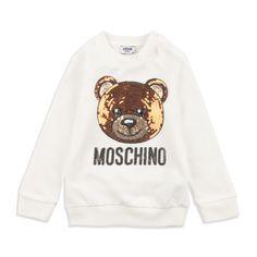 2299a2f409aa Baby Girls Sequin Teddy Bear Sweatshirt - Cream by Moschino