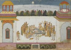 """Attributed to """"Artist 3"""". Maharaja Bakhat Singh and Zenana Women, Savor the Moonlight Evening. Opaque watercolor and gold on paper, India, Nagaur, ca. 1748–50, Mehrangarh Museum Trust"""