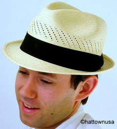 Men's Genuine Panama Hat Short Stingy Brim Ventilated Hand Woven Natural