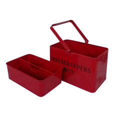 Red Retro Vintage Enamel Housekeeper Cleaning Tool Carry Utility Caddy Box Tidy: Amazon.co.uk: Kitchen & Home
