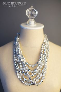 Layered silver crystal beaded necklace (accessories for boudoir photo shoot)