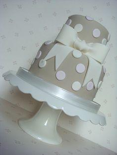 Ecru, Pink & Cream Spotty Bow Cake by smithy.claire, via Flickr