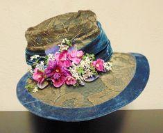 Victorian Edwardian Velvet Trim Lacy Gold Lame Millinery Floppy Hat Wire Brim #WideBrim