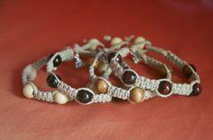 Simple flat hemp braid bracelets. Men.