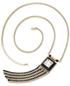 Bar III Necklace, Gold-Tone Crystal Black Chain Tassel Necklace - Fashion Necklaces - Jewelry & Watches - Macy's